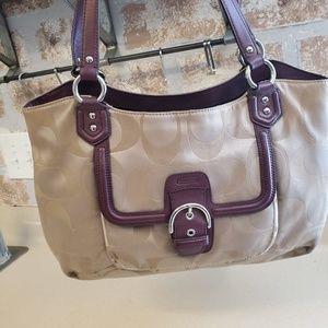 COACH brown monogram putse handbag